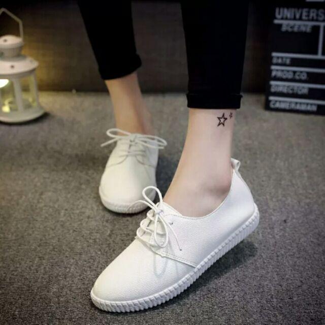 ( )春夏 繫帶平底低跟小白鞋女圓頭學院風低幫休閒百搭 單鞋女