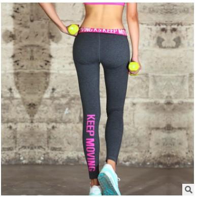 美臀神器膠印字母長褲高彈力修身跑步健身瑜伽 褲女