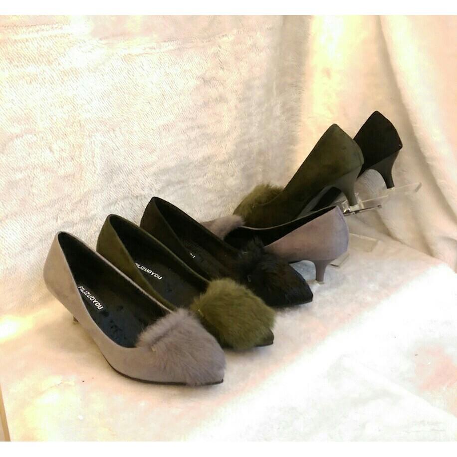 下殺毛絨絨低跟素面可愛高跟鞋黑色灰色綠色