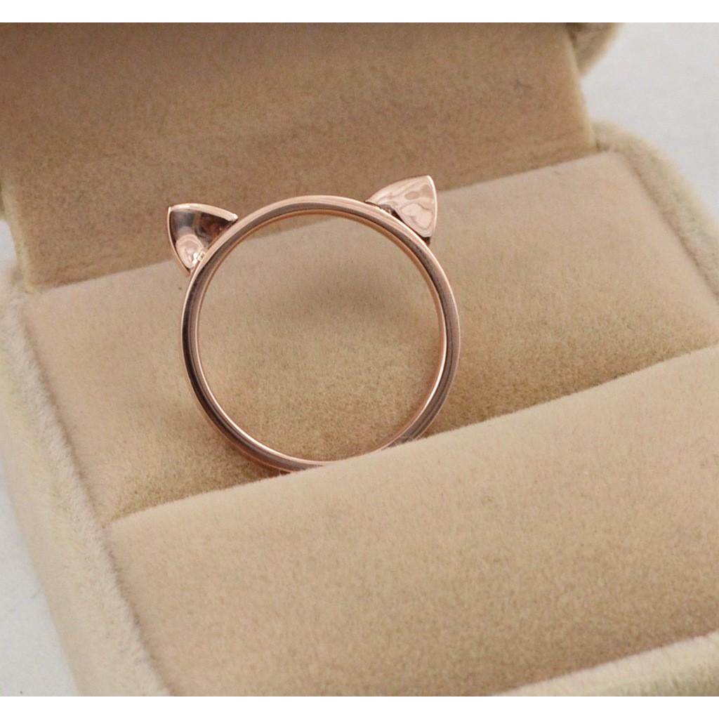 109 元貓耳朵 窄邊女款戒指玫瑰金鈦鋼 飾品玫瑰金高 鋼鈦戒抗腐蝕