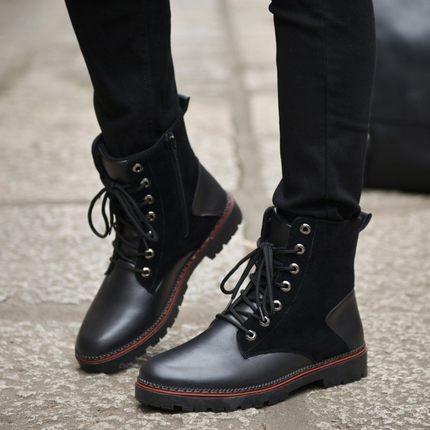 高幫鞋潮男鞋馬丁靴子男靴短靴防水潮靴 皮鞋 戶外工裝皮靴