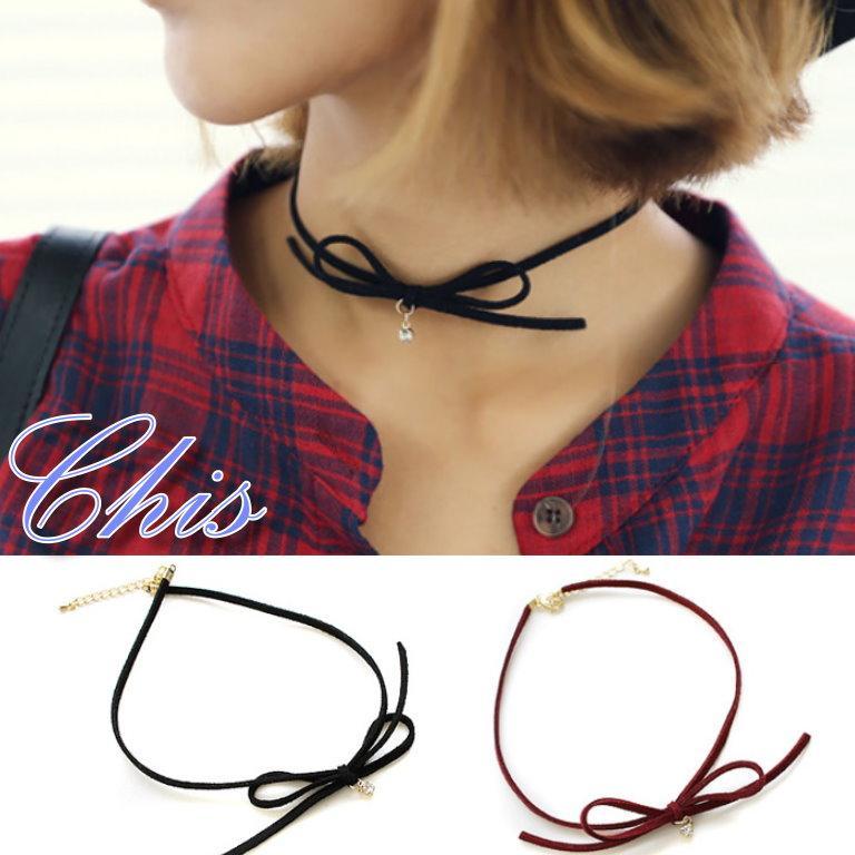 Chis Store ~蝴蝶結小鑽頸鍊~韓國復古風鑲鑽點綴項圈項鍊短項鍊項鏈皮質古著風Vi