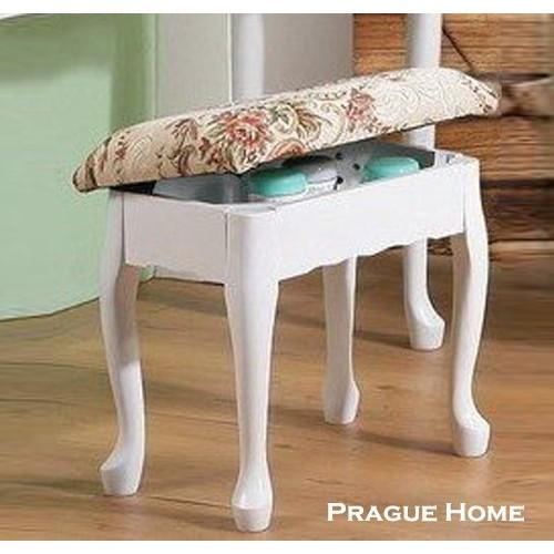 高 歐式古典掀蓋式化妝椅 製套房民宿學生白色胡桃色2293