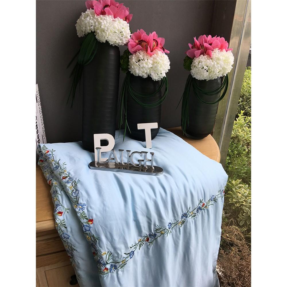 藍色素色純色繡花60 支雙面天絲夏被莫代爾空調被可水洗薄被子雙人夏涼被