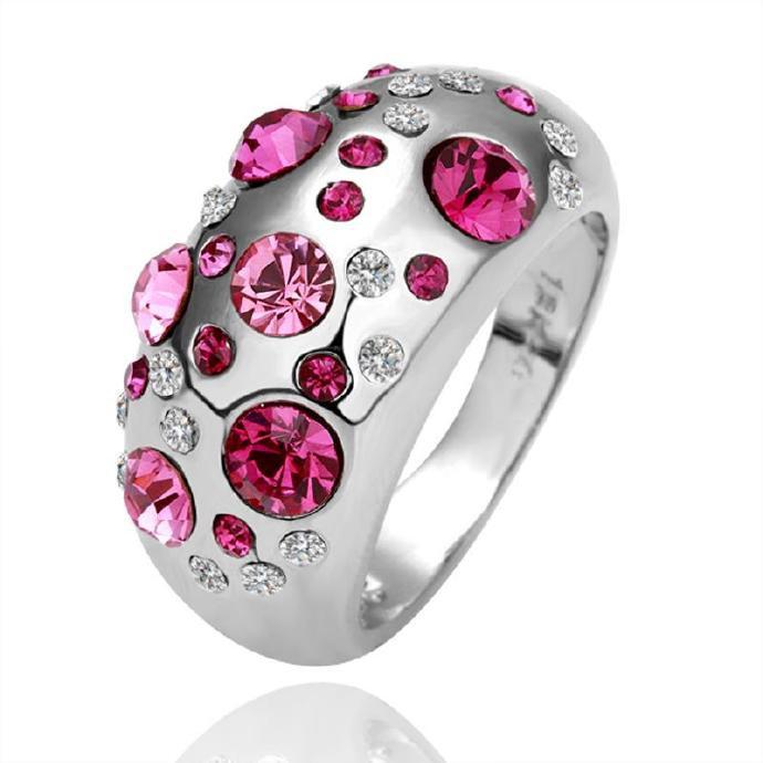炫彩水晶飾品 白金鑲鑽手飾戒指百搭情侶戒指配飾