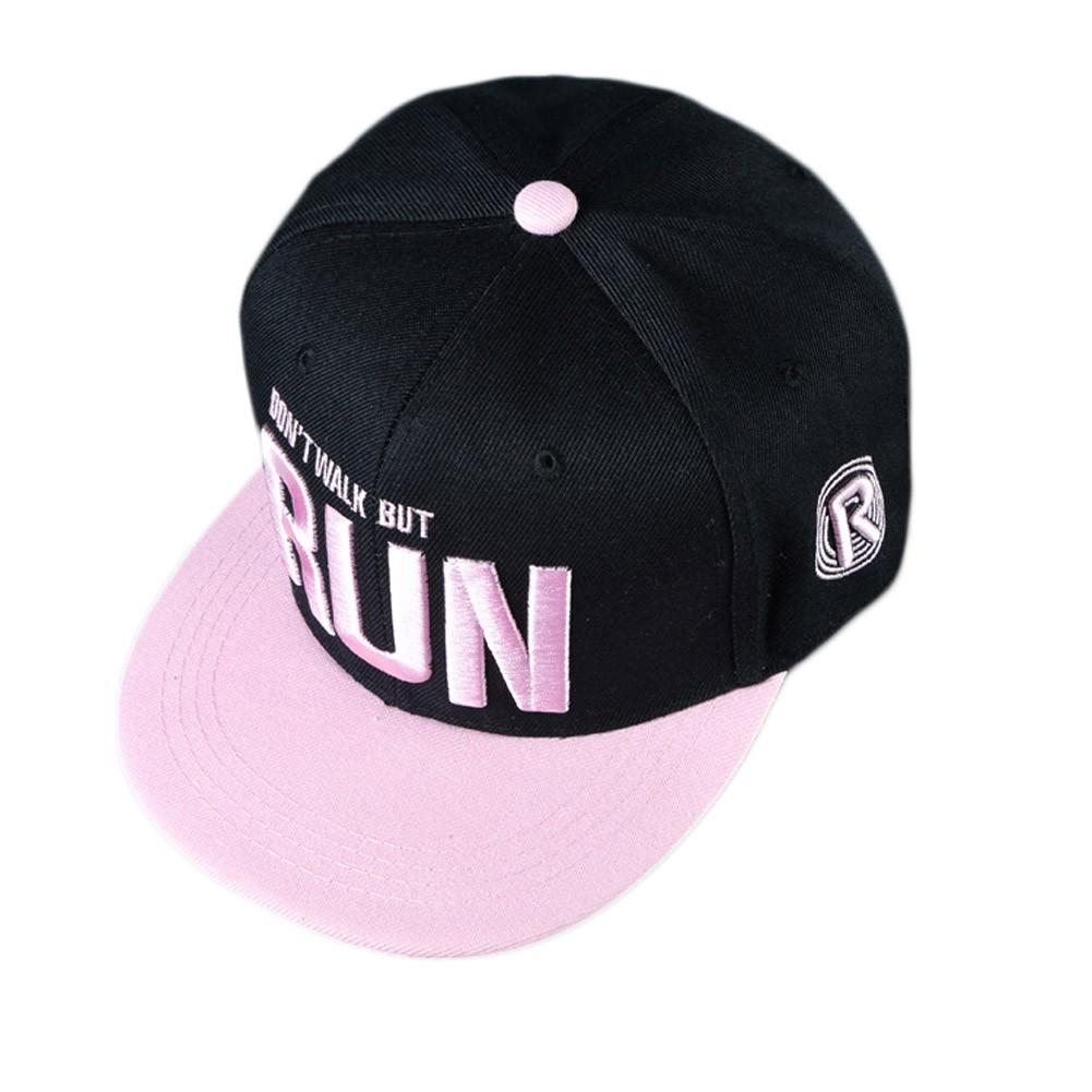 凡庫明星同款帽子RUN 字母迷彩帽平沿棒球帽嘻哈帽平沿帽子跑男鹿晗同款帽子RUN 女親子平