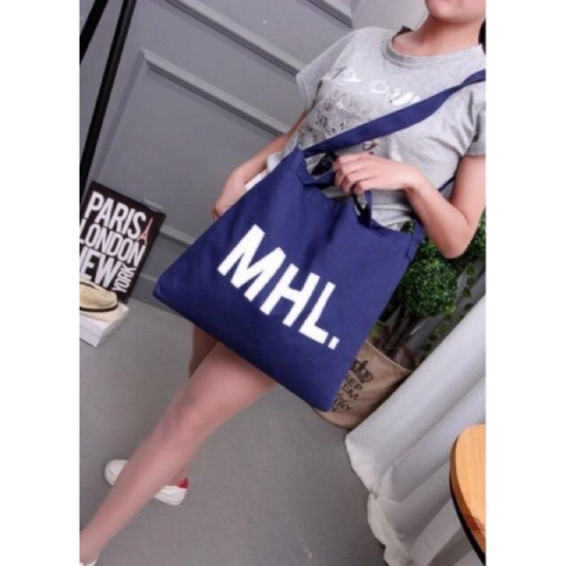 韓國復古單肩包字母MHL 帆布袋牛仔布環保袋 袋手提袋女包