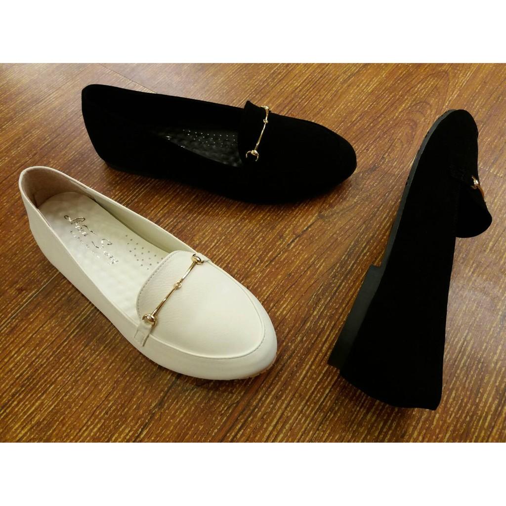 包鞋IF 美鞋MIT  韓國打版小尖頭百搭金屬扣厚乳膠軟墊平底鞋樂福鞋休閒鞋輕便鞋23 2