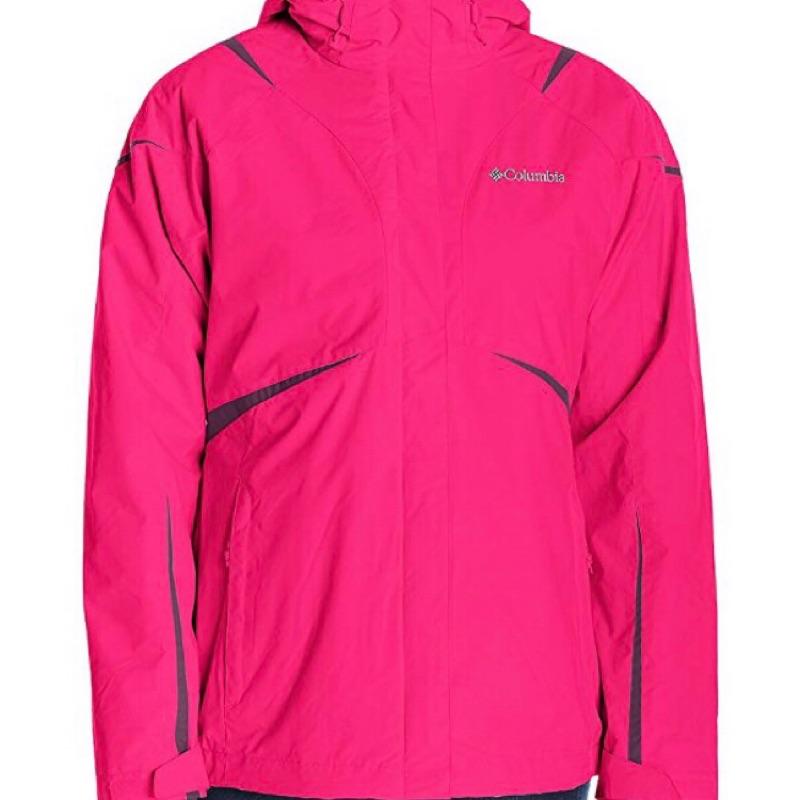 《全新》Columbia 兩件式 防風防水 桃紅色 punch pink 外套 Blazing star 女款 L號
