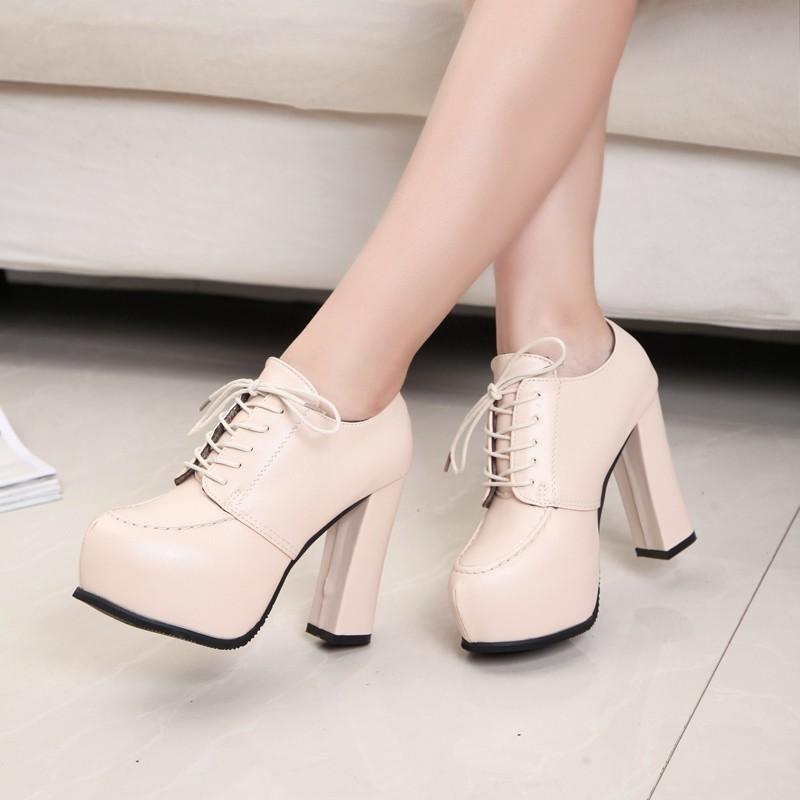 2016 黑色超高跟女鞋英倫風粗跟厚底防水臺單鞋深口系帶女皮鞋