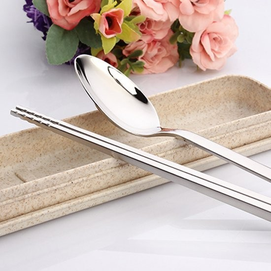Color me ~Q170 ~小麥不鏽鋼餐具三件組開蓋款旅行餐具環保餐具湯匙筷子餐具盒便