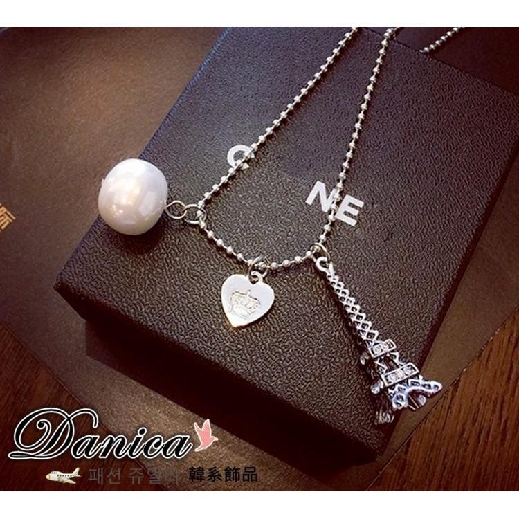 ❤項鍊❤韓國 簡約百搭仿古浪漫立體鐵塔愛心珍珠長項鍊K2365  價Danica 韓系飾品