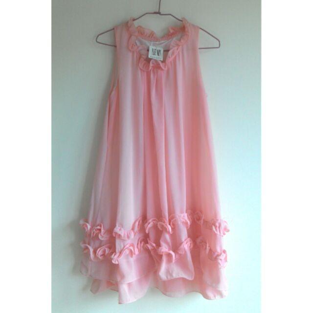 粉色雪紡孕婦洋裝