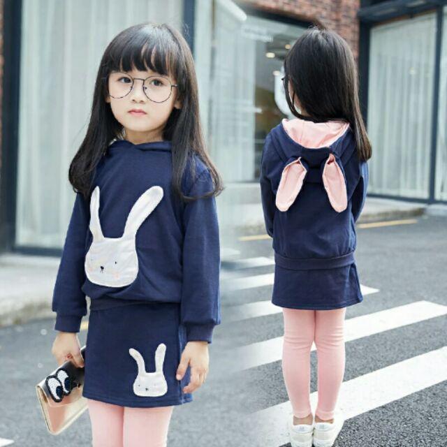 女童套裝2016  兔耳朵長袖2 件套装
