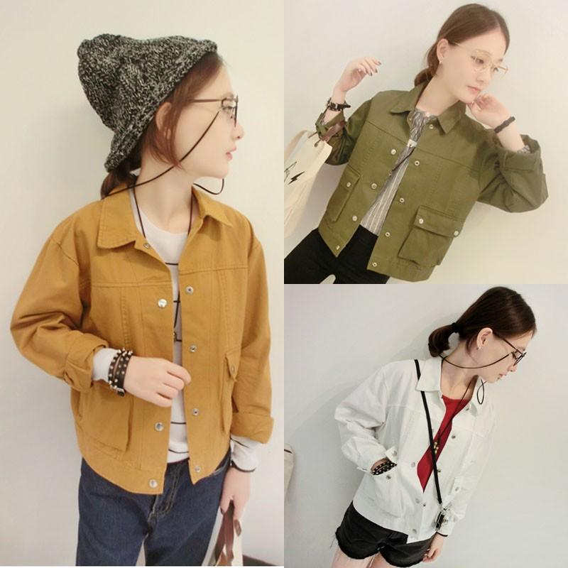 ❤ ❤2016  BF 風休閒簡約工裝上衣女學生長袖夾克襯衣短外套