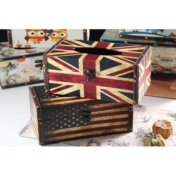 木質復古風面紙盒美國旗英國旗
