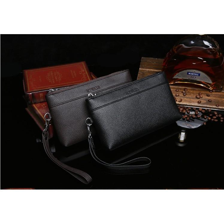 男士錢包長款拉鏈大容量手拿包多 商務錢夾手包軟皮夾男手機包