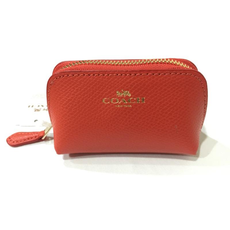 保留一個給xxx0106 、新色,絕對正品Coach 53384 馬卡龍橘紅色防刮皮革立體
