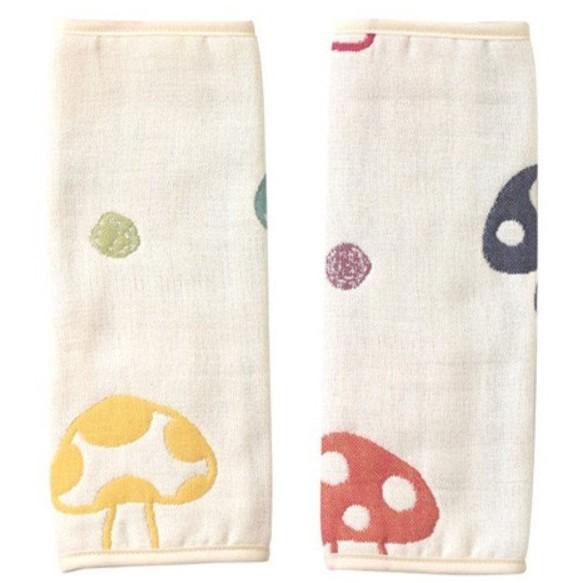 寶貝 館 Hoppetta 六重紗可愛蘑菇揹帶口水巾小手帕可當安全帶防護套多 保護套一款二