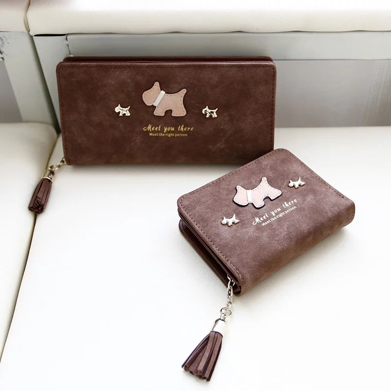 ~F U ~韓國連線 可愛立體 狗狗流蘇磨砂長夾錢包零錢包皮夾非中夾短夾手機包BKK 包包