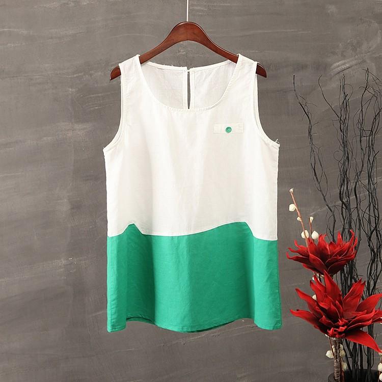 白綠拼色長版棉麻衫61301