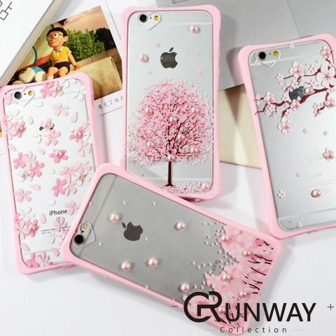 立體珍珠裝飾櫻花圖案小蠻腰手機殼蘋果iPhone 6s Plus 浪漫粉色全包邊軟殼保護套