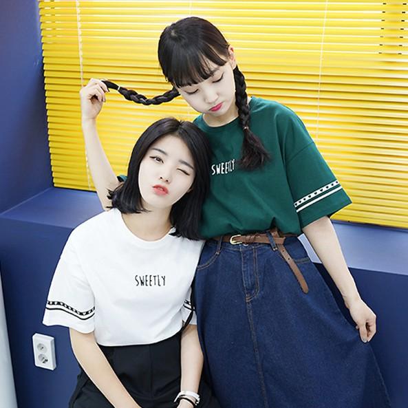 原宿女咖衣櫃韓國原宿BF 學院風英文字母印花簡約袖子套頭印花T 恤女學生