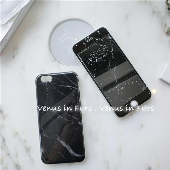 韓國 黑色大理石軟邊玻璃iPhone7 7P 6 6S plus 玻璃膜鋼化玻璃螢幕保護貼