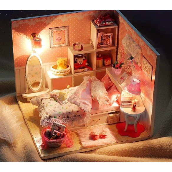 [B 048 ]天使之夢DIY 手作小屋! 制作拼裝小房子模型别墅女生 生日