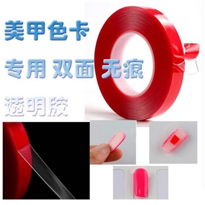 ~美甲透明色卡膠帶厚1mm ~~雙面透明超強力無痕膠貼~黏貼練習甲片的 工具超 的臨時性張