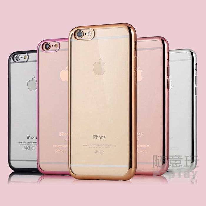 全包覆輕薄手感極佳電鍍邊框透明背蓋iPhone 6 6S Plus 保護殼手機殼手機套