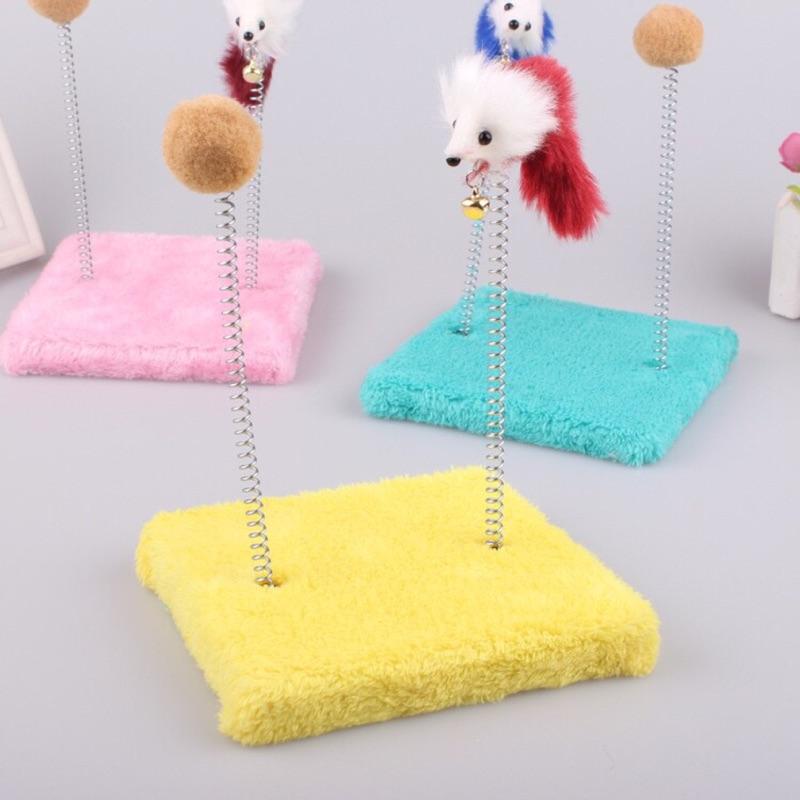 方形絨毛貓抓板小老鼠球球麻繩貓玩具劍麻耐抓可磨甲