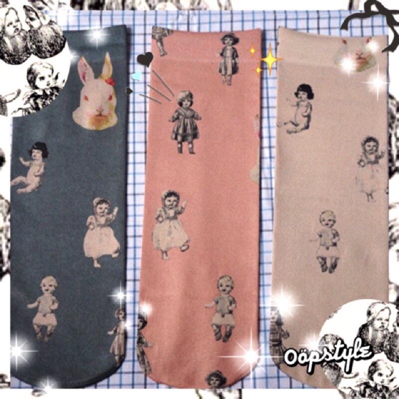 0 öpstyle 日系復古娃娃兔子圖案襪子短襪森林系女孩氣質可愛風格插畫原宿襪子Q 比嬰