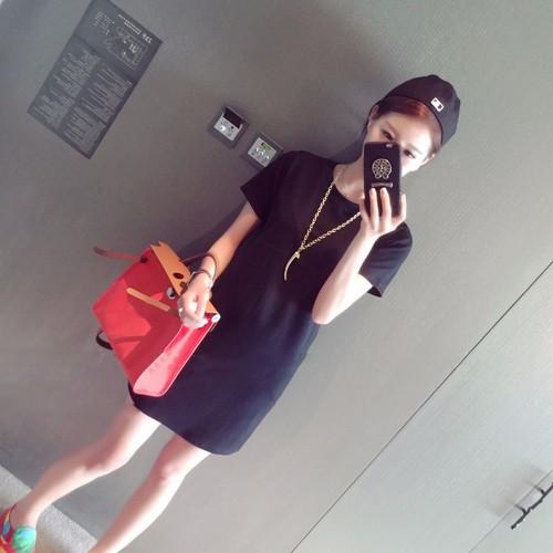 衫Q 網 纯色短袖連衣裙長版ㄒ恤~F0829 8416 ~