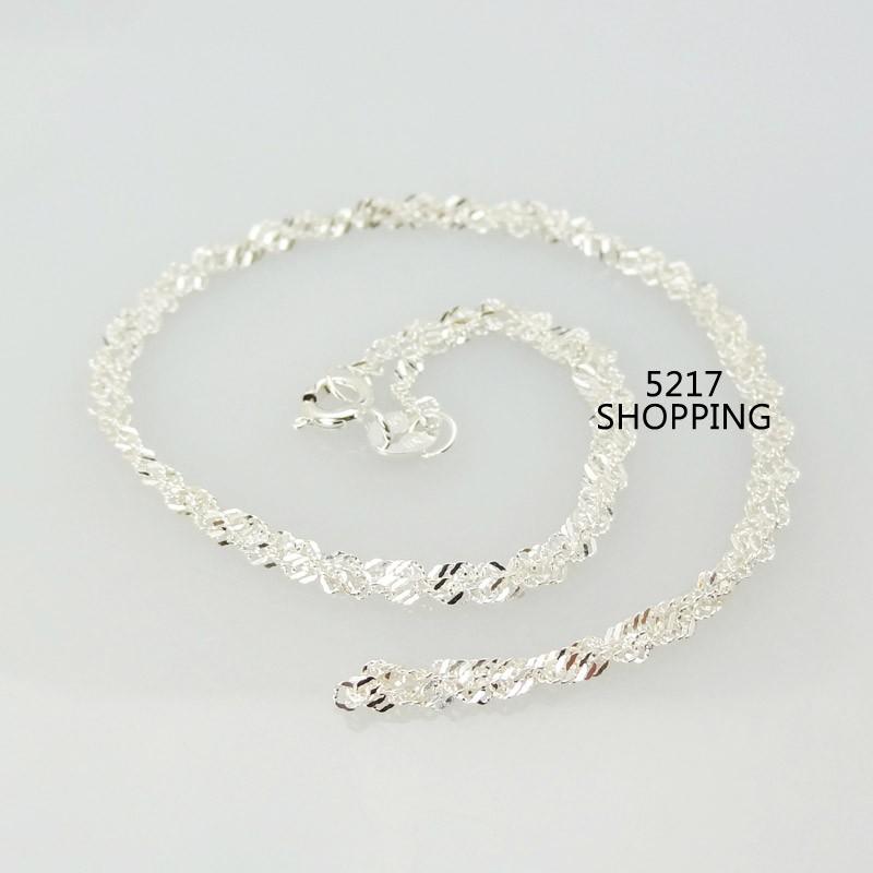 ~純銀水波項鍊~925 純銀飾品鍊子項鍊抗過敏  情人節生日 聖誕節