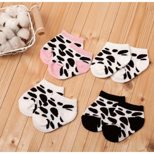 製2 雙入可愛 寶寶乳牛棉襪嬰兒襪套護腳套襪子3888
