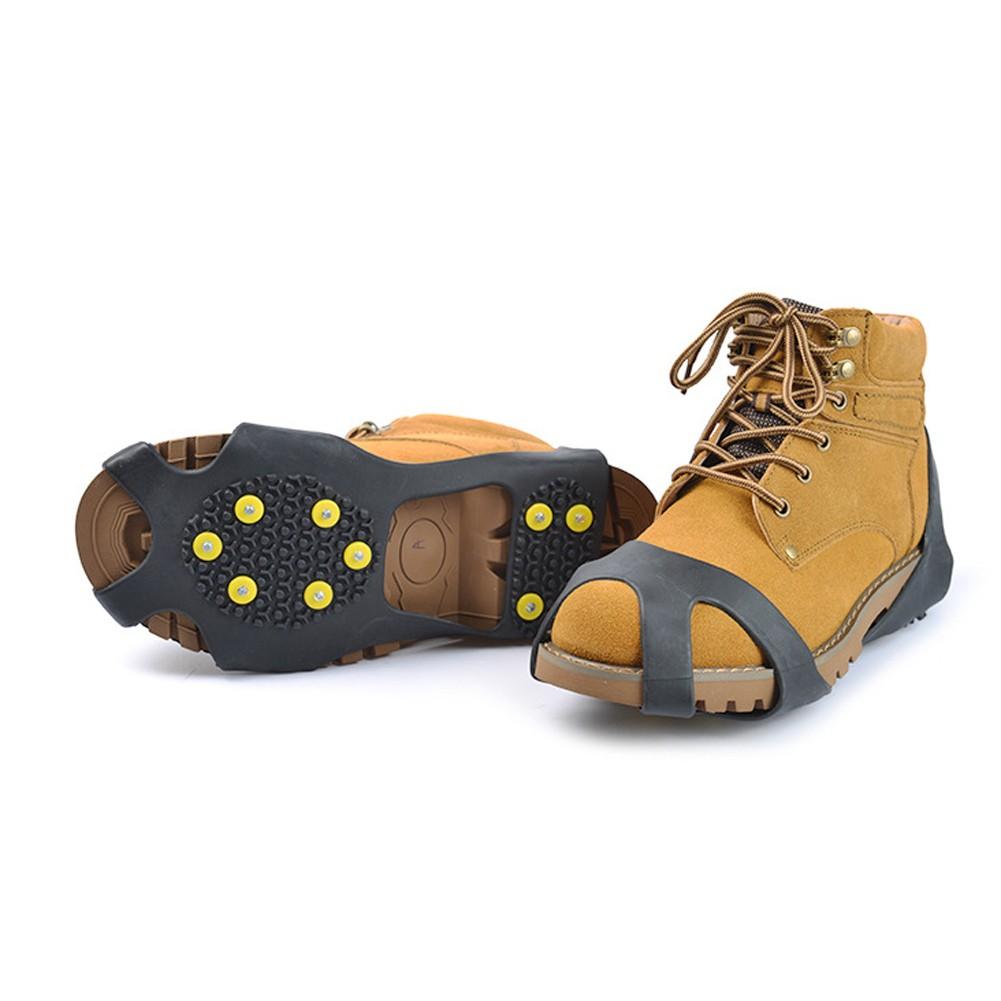 戶外 防滑鞋套十齒橡膠10 釘冰爪雪地防滑鞋套(一对)