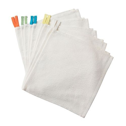IKEA KRAMA 白色純棉毛巾小方巾廚房抹布擦手巾30X30 公分一包10 條可零買