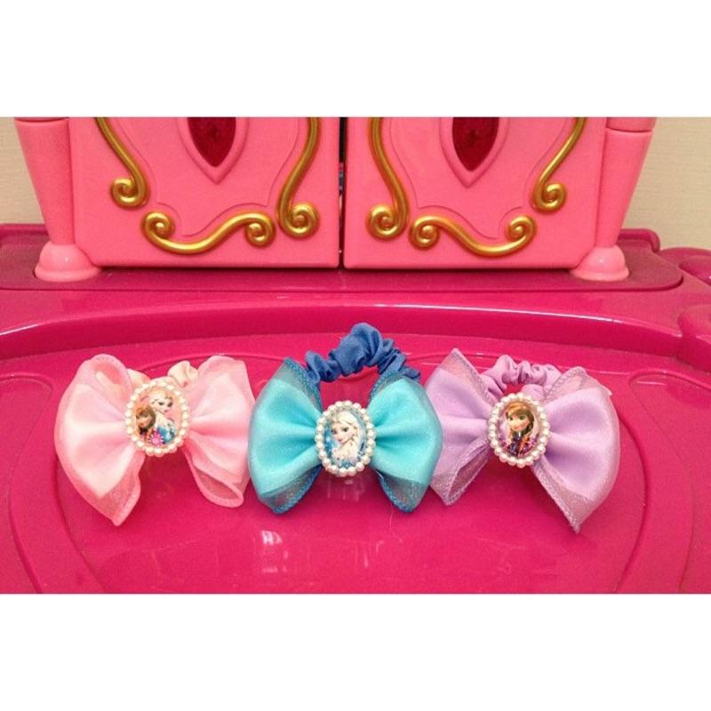 1 2 美人魚迪士尼公主 frozen 冰雪奇緣Elsa 艾莎雪寶珍珠蕾絲大腸髮圈蝴蝶結兒