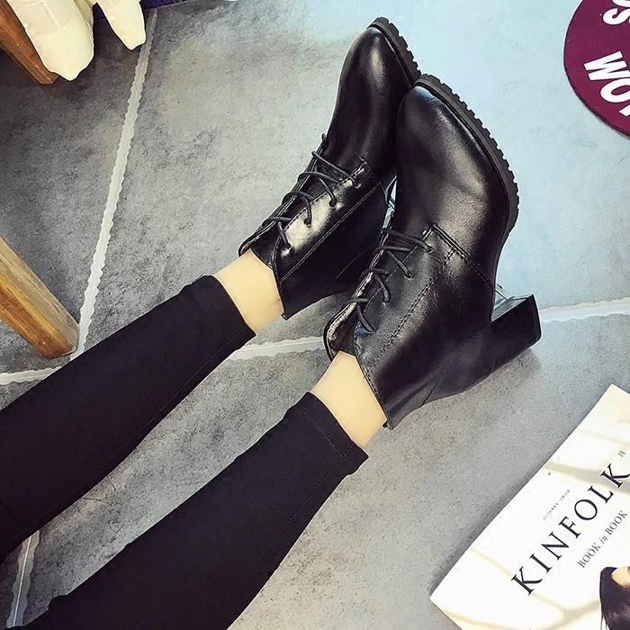 2016 尖頭粗跟短靴 黑色高跟系帶女靴百搭裸靴皮女單鞋子潮靴子裸靴短靴長靴雨靴雪靴過膝靴