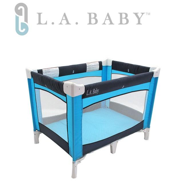 ~美國L A Baby ~攜帶式遊戲床藍色咖啡色