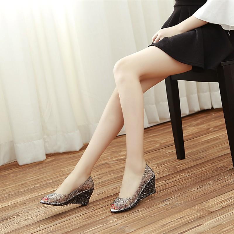 女夏高跟鞋魚嘴涼鞋厚底坡跟鞋塑膠鳥巢鞋女式 涼鞋洞洞鞋