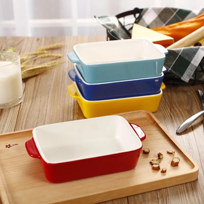 ~禎巧妙~日式陶瓷烤碗長方形雙耳焗飯盤純白陶瓷焗飯碗烘焙烤盤烤箱