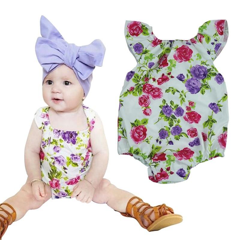 可愛的夏天嬰兒女孩緊身衣褲有趣的衣服NewBorn 嬰兒復古花卉印花無袖連身褲