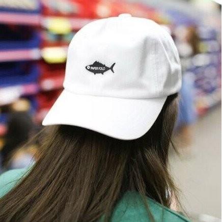 韓國 潮流膠皮小魚棉質遮陽帽棒球帽老帽彎帽逗魚鴨舌帽子K670