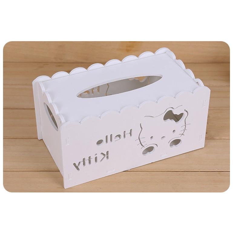 緣の鋪 家居Hello Kitty 鏤空雕花高雅面紙盒木塑板紙巾盒桌面收納整理
