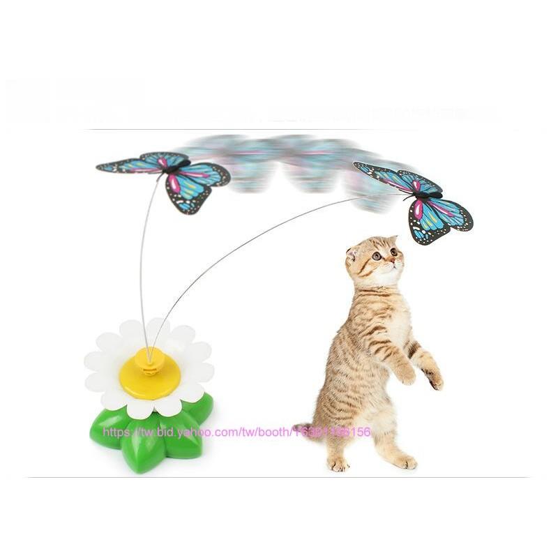 ~COOL PET ~電動蝴蝶貓玩具可360 度轉動花色 養貓 的玩具逗貓棒