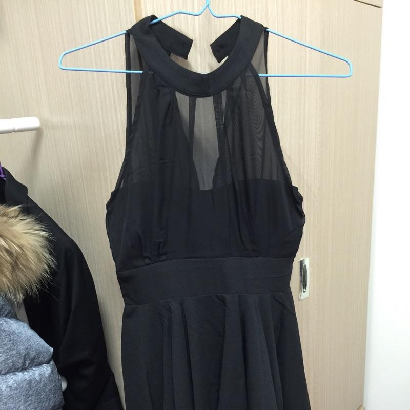 薄紗繞頸圍脖連身洋裝深v 爆乳小禮服氣質性感連身裙跑趴