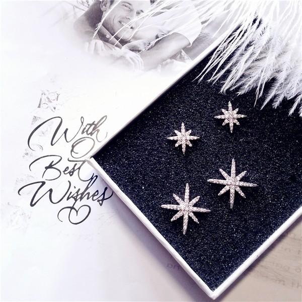 APM 八角星星925 純銀針微鑲鋯石珍珠防過敏耳釘氣質耳環