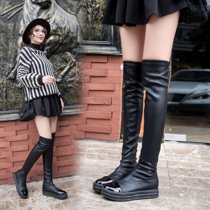 短靴過膝長靴平底長筒靴彈力靴高筒靴女靴加絨棉靴子平跟2016  過膝靴短靴馬丁靴靴子